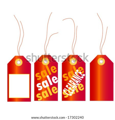 Sale tags in red