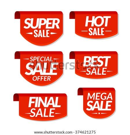 Sale tags labels. Special offer, hot sale, special sale, final sale, best sale, mega sale discount banners - stock vector