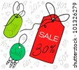 Sale tags on string, vector illustration for your website or store - stock vector