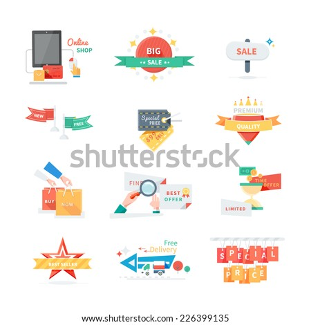 Sale Tags. Online shop tags for clearance offer and special discount. Big sale, buy now, special offer, free delivery, best seller, quality, special price - stock vector