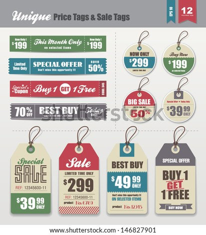 Sale Tags & Price Tags Collection - stock vector