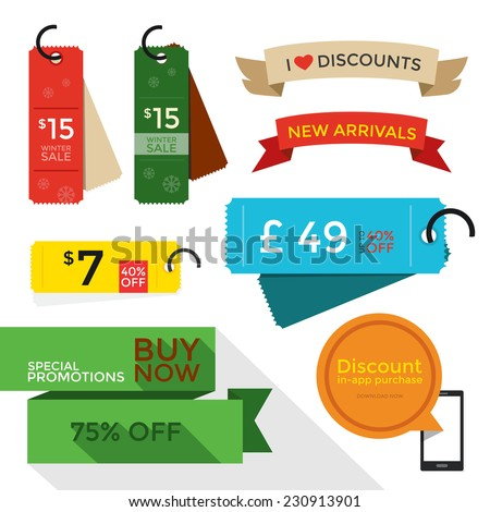 Sale Tags & Price Tags flat designs, vector