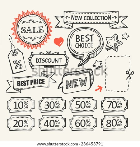 Sale tags. Sale banners set. Shopping. A set of hand drawn elements for your design. - stock vector