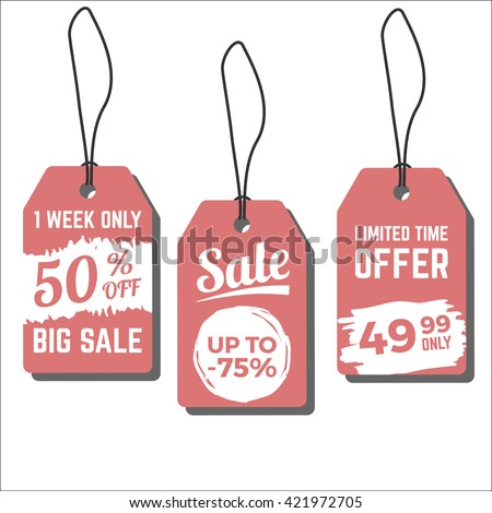 Sale tags. Vector illustration with freehand grunge ink textures. Price labels for sales, special offers and discounts - stock vector