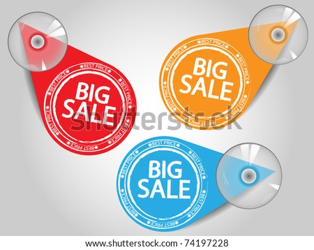 Sale tags with sucking disk - stock vector