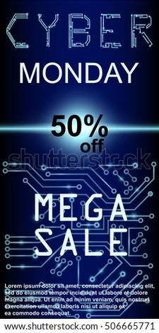 Sale technology banner. Cyber monday web elements with banners and discounts. Eps10 vector illustration.