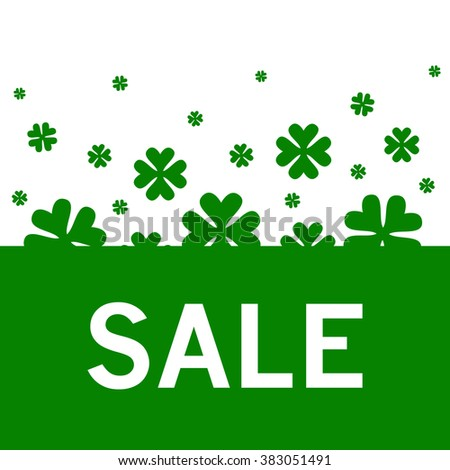 SALE text as Saint Patrick's Day sale badge, tag and icon. St. Patrick's Day card/sale/invitation/flyer/banner template. Sale background. Sale tag. Sale poster. Sale vector.