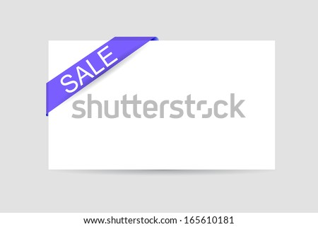 Sale Text at Blue transparent Tape and Blank Card  - stock vector