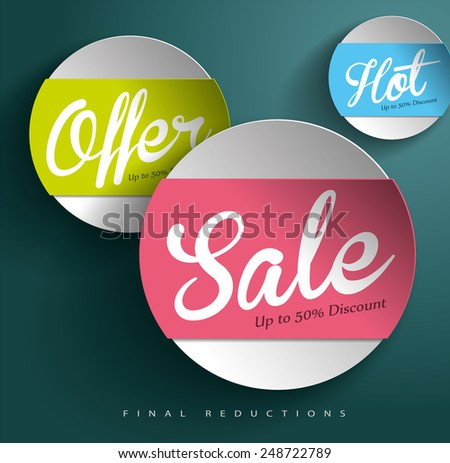 Sale Vector Poster, 3D Paper Graphics - stock vector