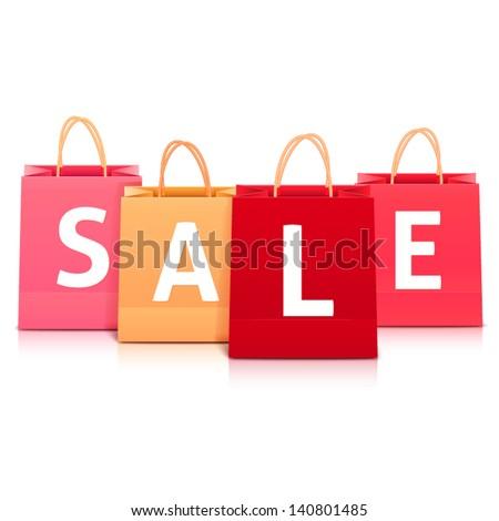 Sale vector shopping bag set - stock vector