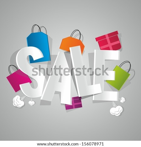 Sale with coloured bags vector illustration - stock vector
