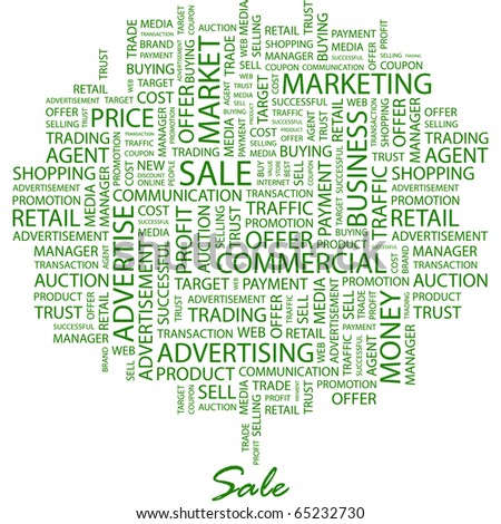 SALE. Word collage on white background. Illustration with different association terms. - stock vector