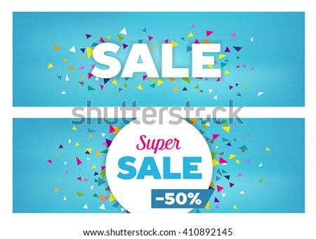 Sales banners - modern design made of geometrical shapes. Can be used to advertise sales events and discounts. - stock vector