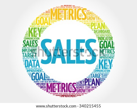 Sales circle word cloud, business concept background - stock vector