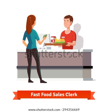 Sales clerk at fast food restaurant handing a tray with packed burger an coffee to a woman customer with cash in hand. Flat vector icon isolated on white background. - stock vector