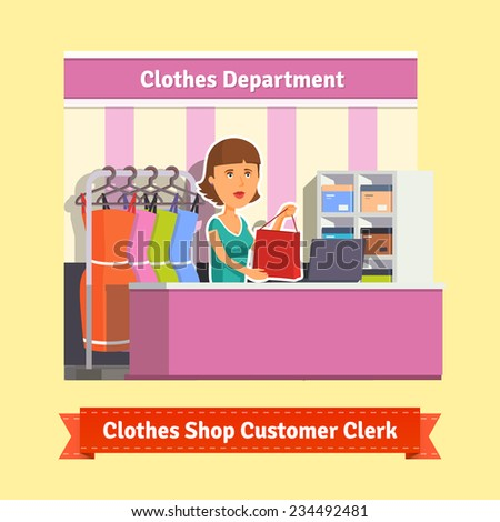 Sales clerk working with customers at the clothes store or department. Pretty woman shop assistant. Flat style illustration. EPS 10 vector. - stock vector