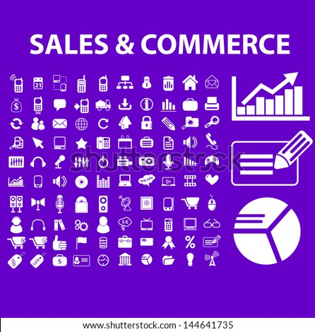 sales, commerce, marketing, market, analytics icons, signs set, vector - stock vector
