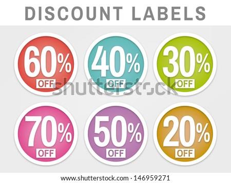 sales discount labels - stock vector
