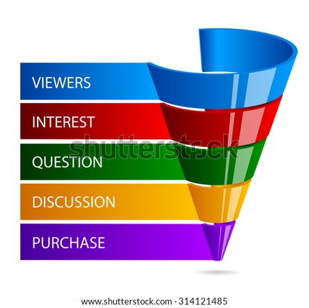 sales funnel for marketing infographic - stock vector