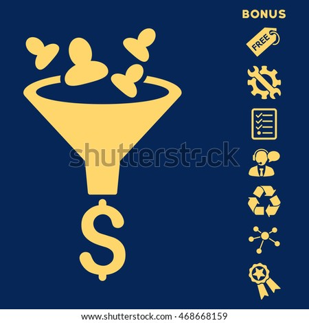 Sales Funnel icon with bonus pictograms. Vector illustration style is flat iconic symbols, yellow color, blue background, rounded angles.