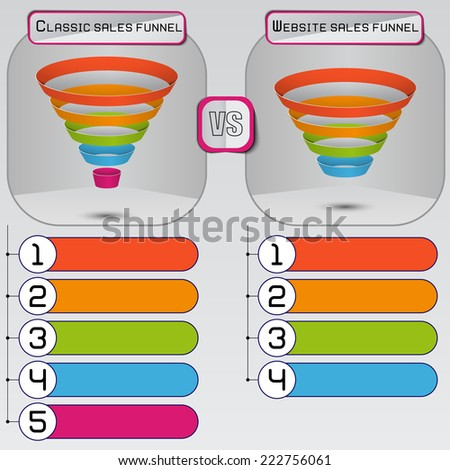 Sales funnel on a gray background 3D. Vector infographic. - stock vector