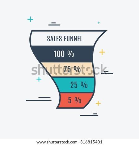 Sales Funnel Vector Eps10 - stock vector