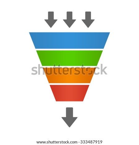 Sales lead funnel flat icon with arrows for presentation apps and websites - stock vector
