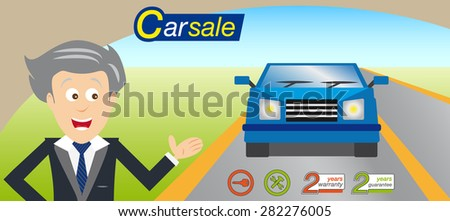 Sales man offering a car. Icons and logo vector. Blue car. EPS 10 vector.