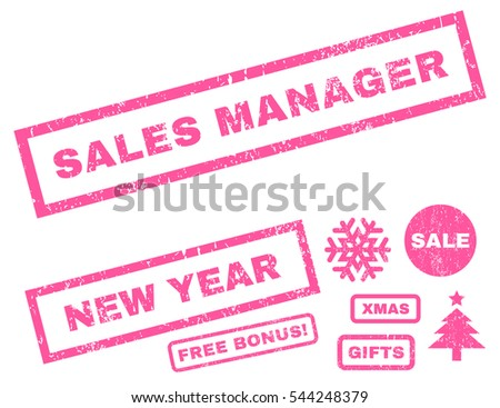 Sales Manager rubber seal stamp watermark with additional images for Christmas and New Year offers. Text inside rectangular shape with grunge design and dirty texture. Vector pink signs.