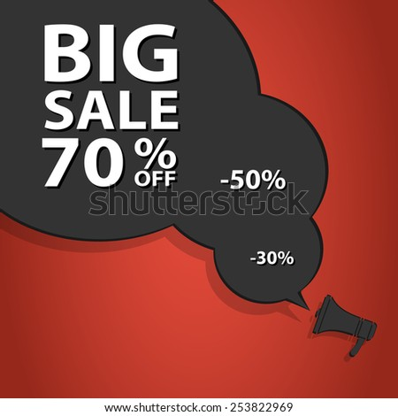 Sales poster speech bubble with percent discount. Christmas sales. Holiday sales. Vector illustration. - stock vector