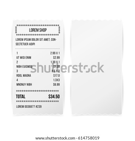 Sales Printed Receipt White Empty Paper Blank Vector. Shopping Paper Bill  Atm Vector Mock Up  Blank Reciept