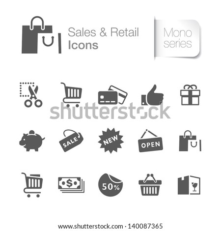 Sales & retail related icons - stock vector