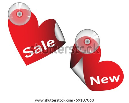Sales tag with sucking disk - red hearts