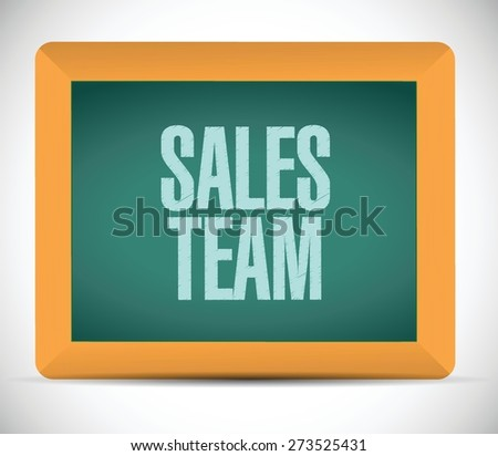 sales team board sign concept illustration design over white - stock vector