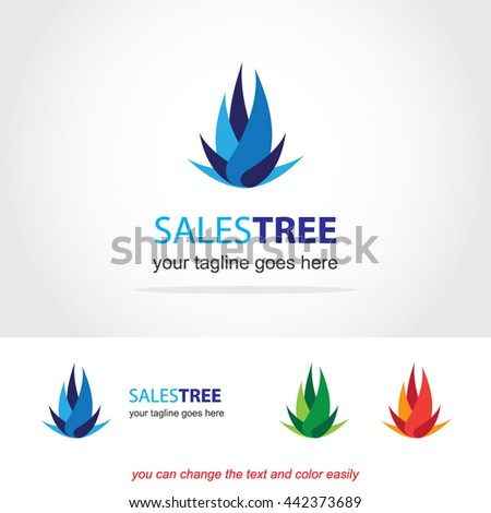 Sales tree Finance abstract vector logo design template icon of company identity symbol concept for financial service, insurance, banking, leasing or any money business