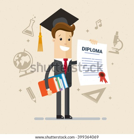 Salesman got diploma of university, college or business school. A man in a suit hold a diplom of education. Signs of symbols of different sciences. Illustration, vector EPS 10 - stock vector