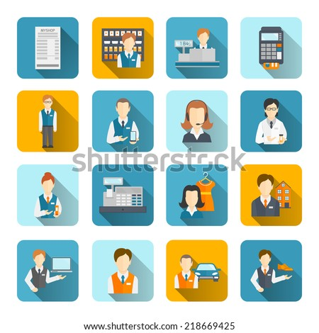 Salesman icons flat set isolated with beauty assistant shopman shoes seller isolated vector illustration - stock vector