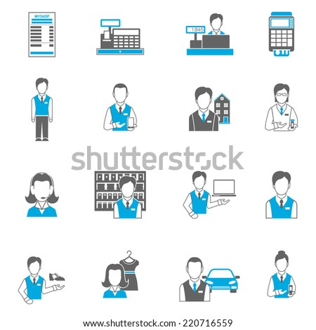 Salesman icons flat set isolated with pharmacist car dealer cash terminal isolated vector illustration - stock vector