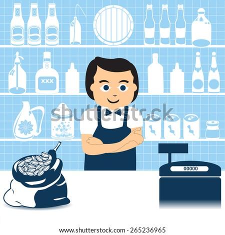 Salesman in grocery store - stock vector
