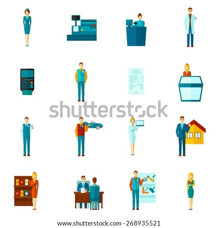 Salesman shopman and realtors figures icons flat set isolated vector illustration - stock vector