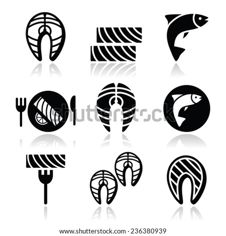 Salmon fish and meal - food icons set - stock vector