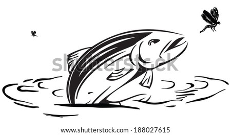 Salmon hunts insects jumping out of the water. Vector illustration. - stock vector