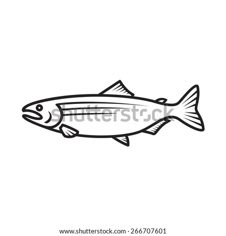 Salmon simple black outline isolated logo - stock vector