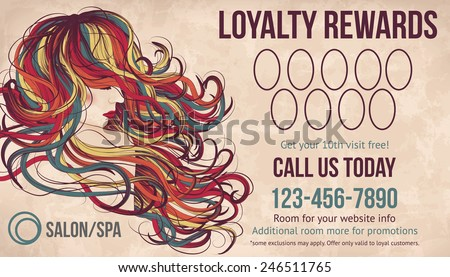 Salon customer loyalty card showing beautiful woman with long colorful hair - stock vector