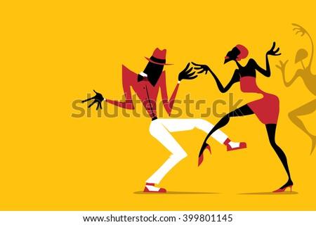 Salsa / Samba / Rumba / Latin Dance, Couple Dancing (Vector Art) - stock vector