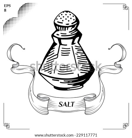 Salt and pepper shakers. salt and pepper pots. Equipment for cookery. Glass Bottle and vessel with Salt. Cooking steps. Methods of Cooking. Process of cookery. Eps 8 - stock vector