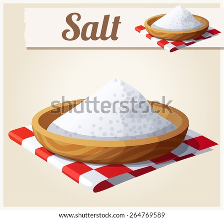 Salt. Detailed Vector Icon. Series of food and drink and ingredients for cooking. - stock vector