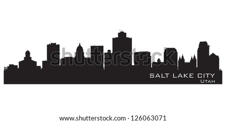 Salt Lake City, Utah skyline. Detailed city silhouette. Vector illustration