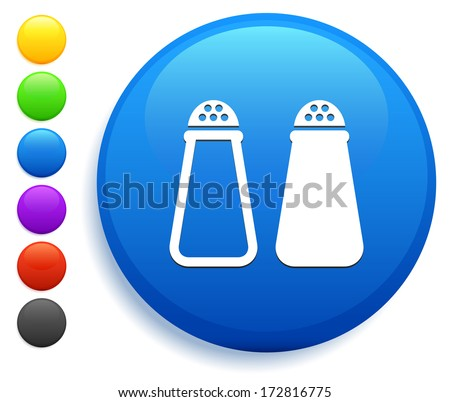 Salt & Pepper Icon on Round Button Collection - stock vector
