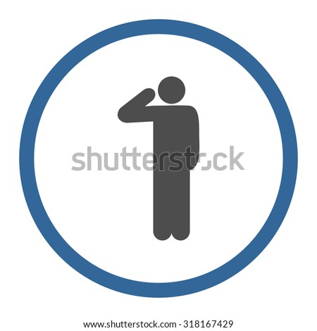 Salute vector icon. This rounded flat symbol is drawn with cobalt and gray colors on a white background. - stock vector